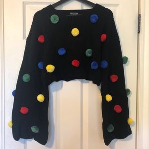 NWT Cropped knit sweater with multi color pompoms